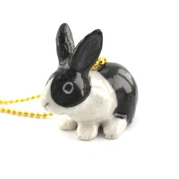 3D Porcelain Black and White Bunny Rabbit Shaped Ceramic Pendant Necklace
