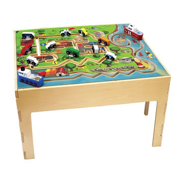 Kids Daycare City Transportation Activity Educational Wooden Play Table