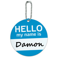 Damon Hello My Name Is Round ID Card Luggage Tag