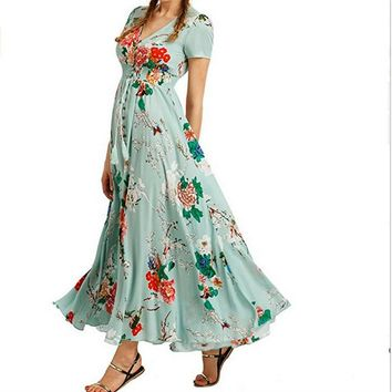 2017 Summer Boho Long Dress Retro Rockabilly 60s Vintage Split Floral Print Flowy Party National Hepburn Bohemian Maxi dresses