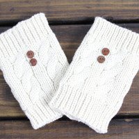 Womens Boot Cuffs, Boot Socks, Cable Knit Boot Cuffs, Stretchy, Black, Mocha, Gray, Boot Cuffs with Buttons, Ivory Boot Socks