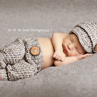 On Sale Gray Newborn Hat and Pants, Photo Prop Baby Pants