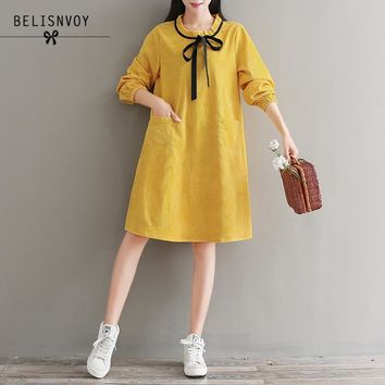 Mori Girl Robe Femme 2018 Spring Autumn Corduroy Dresses Women Bow Casual Loose Long Sleeve Vintage Dress Plus Size Vestidos