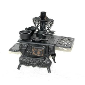 Cast Iron Toy Stove | Ornate Toy Stove Crescent with Pots and Pans | 14 Piece Set | Vintage 50's Very Nice Quality