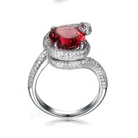 Womens 5.32ct Ruby & White Topaz Snake .925 sterling silver Ring