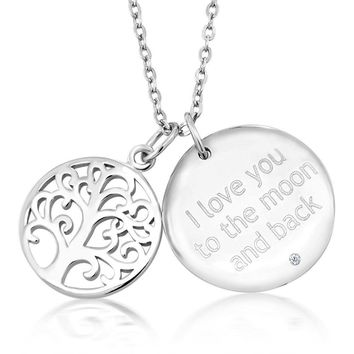 """925 Sterling Silver Tree of Life Double Pendant With Accent Diamond On 18"""" Chain"""