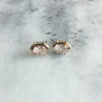 Pink Diamond Druzy Stud Earrings
