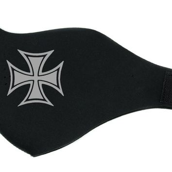 Silver Iron Cross Sign Half Face Mask for Cold Weather Cycling / Motorcycle Riding