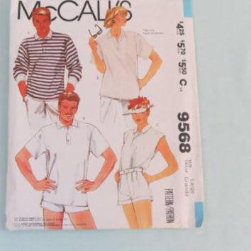 Vintage McCall's size large sewing pattern 9568 men and women shirts for stretch knits only