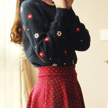 Blue Long Sleeve Floral Applique Sweater