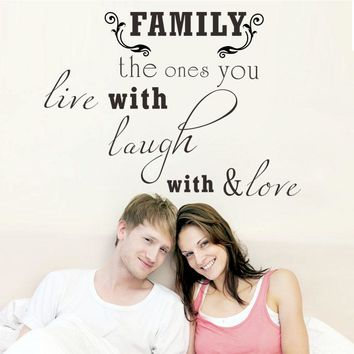 family the ones you live with laugh with love quotes wall stickers home decals living room decoration diy vinyl arts black