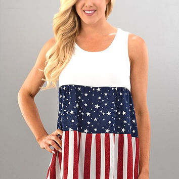 Baby Doll American Flag Top