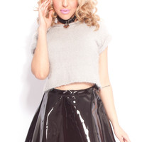 PVC Skater Skirt in Black