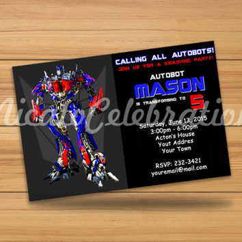 Transformers Optimus Prime Inspired Design Invitaion - Digital File