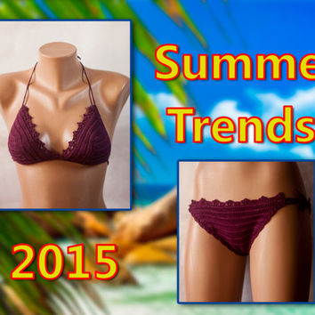 Sexy Swimwear, Bikini, burgundy swimsuit, Women's swimwear, beachwear, 2015 Summer tendentsii.LoveKnittings.