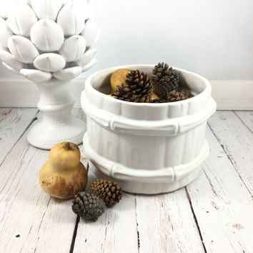 McCoy Planter, White, Bamboo Pot, ceramic planter, planter pot, succulent planter, barrel, McCoy,pottery, ceramics and planters, flower pot