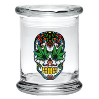 "420 Science 4"" Pop Top Jar (Skull with Leaf)"