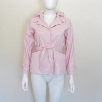 90s Rave Girl Baby Pink Trench Coat Jacket