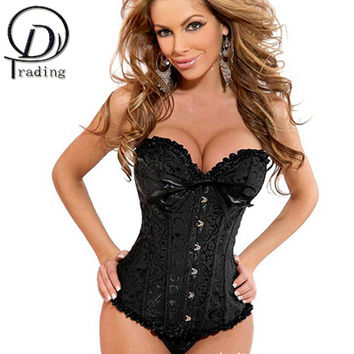 MUKATU Satin Bone Lace Up Steampunk Corset Sexy Bustier Women Corselet Corset and Bustier Corset Overbust Slim Corset Strapless