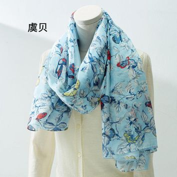Women 100% natural silk scarf big size long shawl wrap female hijab soft thin foulard bandana butterfly sunscreen cape 110x176cm