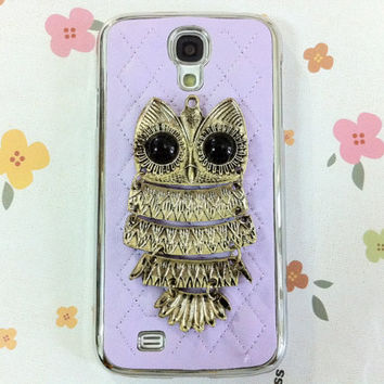 New Chic Glam Bling Sparkle Vintage Metal Owl Sheep Leather Samsung Galaxy S4 i9500 Case