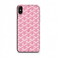 GOYARD PARIS PINK PATTERN iPhone X Case