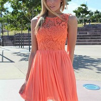 Orange Dress with Sheer Lace Top & Tulle Pleated Skirt