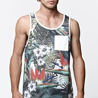 On The Byas Tropical Canopy Pocket Tank Top - Mens Tee - White