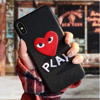 """Comme des garçon play"" Hot Sale Fashionable Women Men Chic Heart Letter Embroidery Mobile Phone Cover Case For iphone 6 6s 6plus 6s-plus 7 7plus 8 8plus X XsMax XR Black"