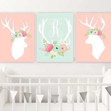 GIRL Floral DEER Wall Art, Canvas or Print Baby Girl Boho Nursery Decor, Girl Deer Head Antler, Deer Nursery Rustic Country Decor, Set of 3