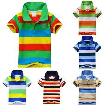 New Summer 1-7Y Baby Children Boys Striped T-shirts Kids Tops S Tee Polo Shirts Clothi