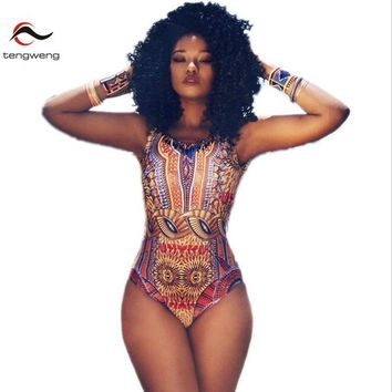 South African Print One Piece Swimsuit Women Brazilian