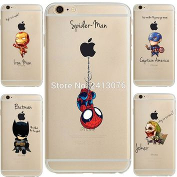 ciciber Marvel Comics DC Comics Iron Man Spider-Man joker Batman soft silicone cover Case for iphone 7 6 6S 8 plus 5S SE X