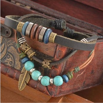 Beaded Feather Leather Tribal Multilayer Bracelet P-314