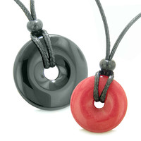 Large and Small Lucky Coin Donuts Amulets Love Couples Black Agate Cherry Red Quartz Charms Necklaces