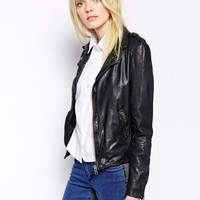 Muubaa Sabi Leather Biker Jacket - Midnight