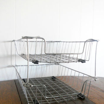 Vintage Industrial Wire Basket Double Tray Stacked Set - Office Supply - File Organizer - Mid Century