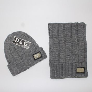 Day-First™ x1love D&G Women Men Winter Knit Hat Cap Scarf Set Two-Piece