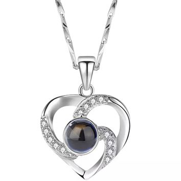 I Love You Necklace Silver Heart