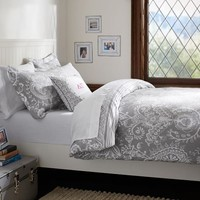 Natalia Duvet Cover + Sham, Light Grey