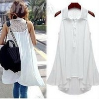 iOffer: women summer shirt vest dress lace casual long tops for sale