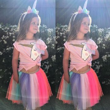 Kid baby girl clothing Set Unicorn Toddler Kids Baby Girls Outfits Clothes 2pcs Short Sleeve T- Shirt Top+ Tutu Skirt Outfits
