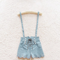 Retro double-breasted high waist denim overalls from Girl boutique