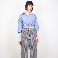 Vintage Wide Leg Pants 1980s 80s High Waisted Pants Boho Nautical Striped Slacks Palazzo Pants Crop Pants Preppy Festival S Small M Medium