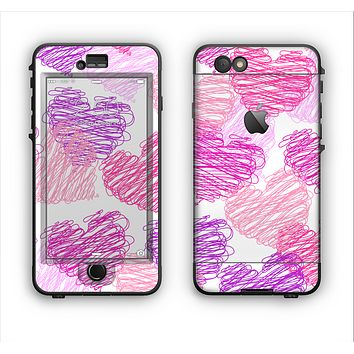 The Loopy Pink and Purple Hearts Apple iPhone 6 LifeProof Nuud Case Skin Set