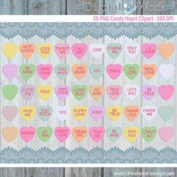 DCKL9 Candy Hearts Clipart 'DIGITAL CANDY HEARTS' Conversation Hearts Candy Clipart great fo