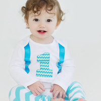 2 Pc. BOYS FIRST BIRTHDAY Outfit-Turquoise Chevron Birthday Party-Chevron Birthday Shirt-Chevron Birthday Bodysuit with Chevron Crawlers