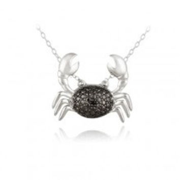 Sterling Silver Black Diamond Accent Crab Necklace