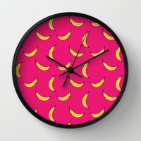 Pink Banana's Wall Clock by Allyson Johnson