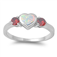 925 Sterling Silver Cute Heart Shape White Lab Opal Deep Red Round Garnet Promise Fidelity Wedding Engagement Anniversary Ring Love Gift